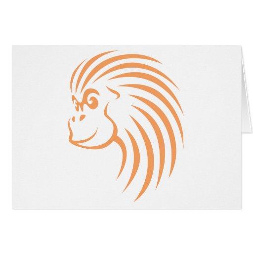 Orangután en estilo del dibujo del chasquido tarjeta de felicitación