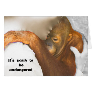 Orangután en peligro asustado