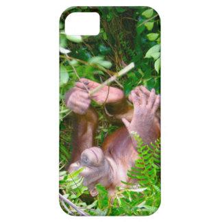 Orangután feliz de la actitud de la yoga del bebé iPhone 5 carcasa