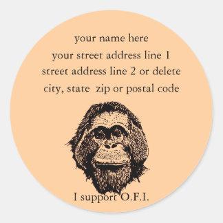 Orangutan Foundation International address labels Classic Round Sticker