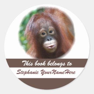 Orangutan Lover Book Sticker Round Stickers