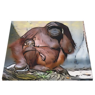 Orangutan Mom and Baby Stretched Canvas Prints