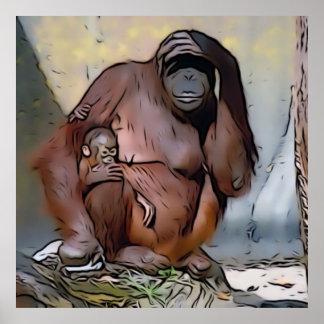 Orangutan Mom and Baby Posters
