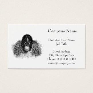 Orangutan Monkey Chimp Elegant Drawing Business Card