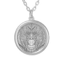 Orangutan Monkey Tee - Tattoo Art Style Coloring Silver Plated Necklace
