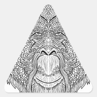 Orangutan Monkey Tee - Tattoo Art Style Coloring Triangle Sticker
