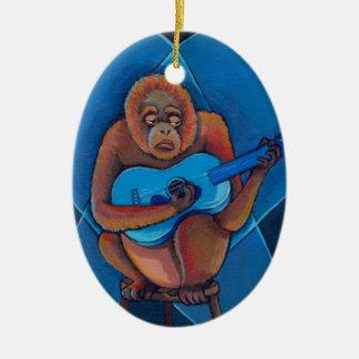 Orangutan musician art fun blues guitarist monkey ornament