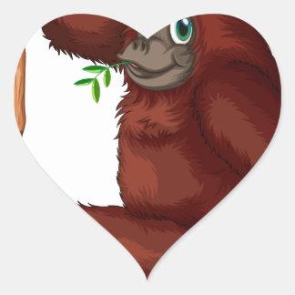 Orangután Pegatina En Forma De Corazón