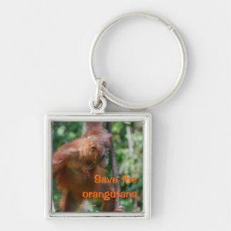 Orangutan Photo in Forest Silver-Colored Square Keychain