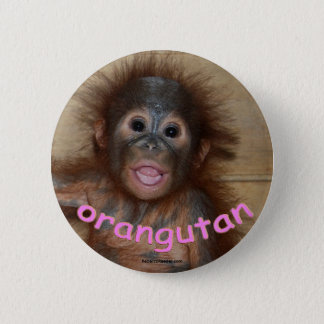 Orangutan Pink Lips Pinback Button