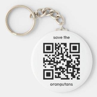 Orangutan QR code Basic Round Button Keychain