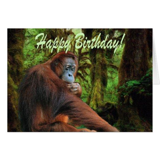 Orangutan & Rainforest Birthday Card