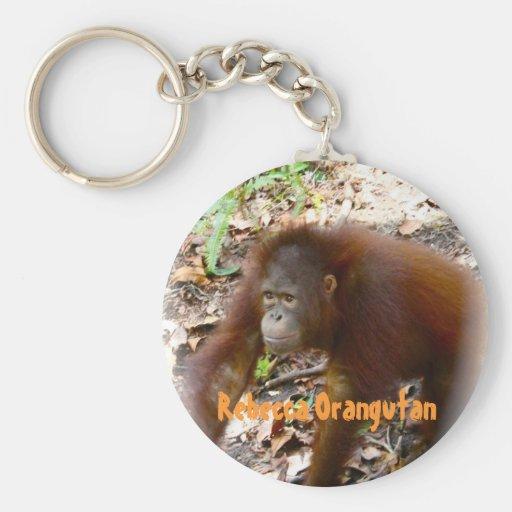 Orangutan Rebecca in Borneo Basic Round Button Keychain