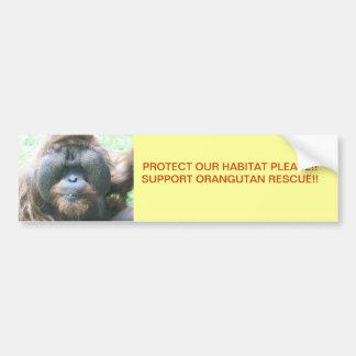 Orangutan RESCUE BUMPER STICKER Car Bumper Sticker