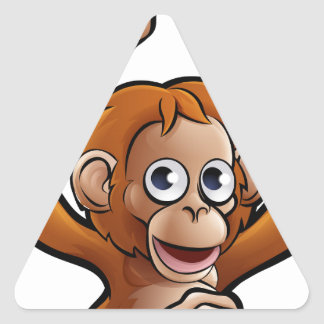 Orangutan Safari Animals Cartoon Character Triangle Sticker