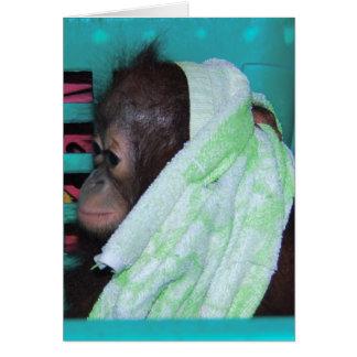 Orangután solo del bebé tarjetón