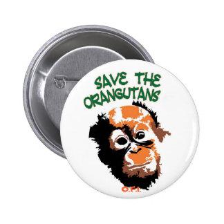 Orangutanes Pin Redondo De 2 Pulgadas
