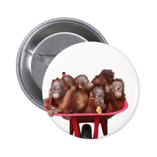 orangutanes rojos del bebé de la carretilla pin redondo de 2 pulgadas