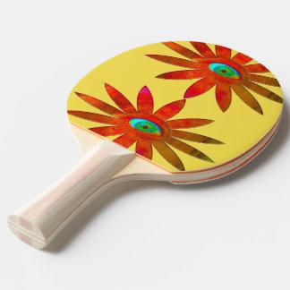 Orangy Eye Flower Ping Pong Paddle