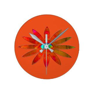 Orangy Eye Flower Round Clock