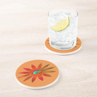 Orangy Eye Flower Sandstone Coaster