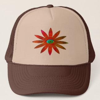 Orangy Eye Flower Trucker Hat