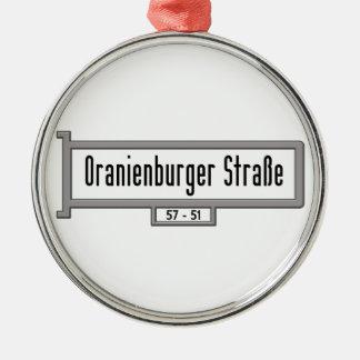 Oranienburger Strasse, placa de calle de Berlín Adorno Redondo Plateado