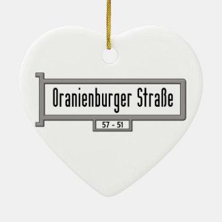 Oranienburger Strasse, placa de calle de Berlín Adorno De Cerámica En Forma De Corazón