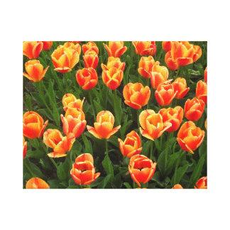 Oranje bloemen decoratie stretched canvas afdruk