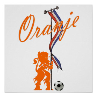 Oranje Netherlands flag  Total football banner Poster