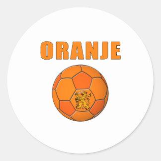 Oranje Voetbal T-Shirts Round Sticker