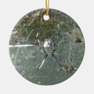 Orb Weaver Double-Sided Ceramic Round Christmas Ornament