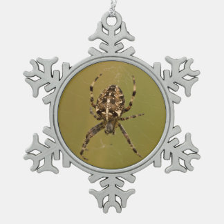 Orb-weaver Spider Snowflake Pewter Christmas Ornament