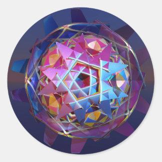 Orbe metálico colorido pegatina redonda