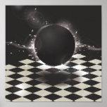 Orbe negro en fondo a cuadros impresiones