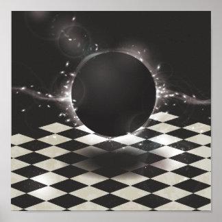 Orbe negro en fondo a cuadros póster