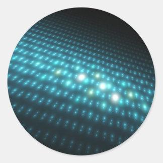 Orbes azules 3D Etiqueta Redonda