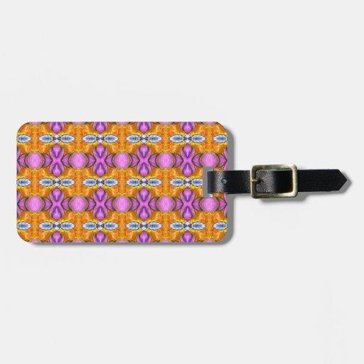 orbes brillantes púrpuras anaranjados etiqueta para equipaje
