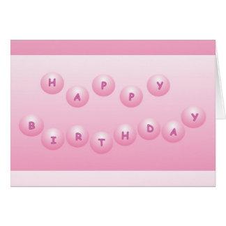 Orbes del rosa del feliz cumpleaños tarjeta de felicitación