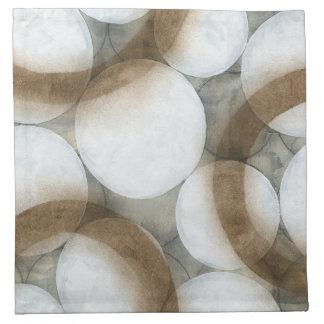 Orbes y círculos blancos de Brown Servilleta Imprimida