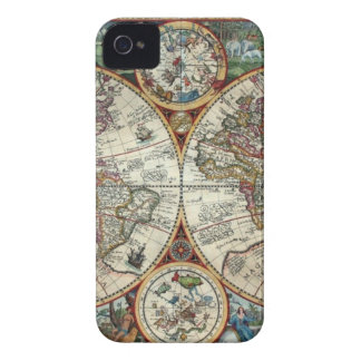 Orbis Terrarum 1594 - Famous World Map iPhone 4 Case-Mate Case