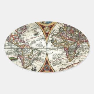 Orbis Terrarum 1594 - Famous World Map Oval Sticker