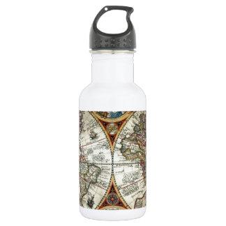 Orbis Terrarum 1594 - Famous World Map Stainless Steel Water Bottle