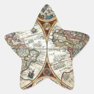Orbis Terrarum 1594 - Famous World Map Star Sticker