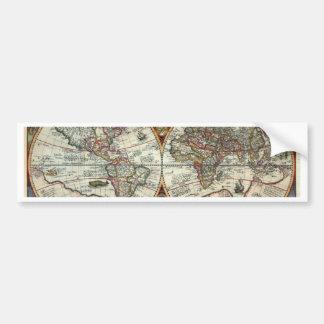 Orbis Terrarum 1594 - mapa del mundo famoso Pegatina De Parachoque