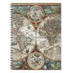Orbis Terrarum 1594 - mapa del mundo famoso Libreta Espiral
