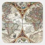 Orbis Terrarum 1594 - mapa del mundo famoso Pegatina Cuadrada