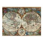 Orbis Terrarum 1594 - mapa del mundo famoso Tarjeta Postal