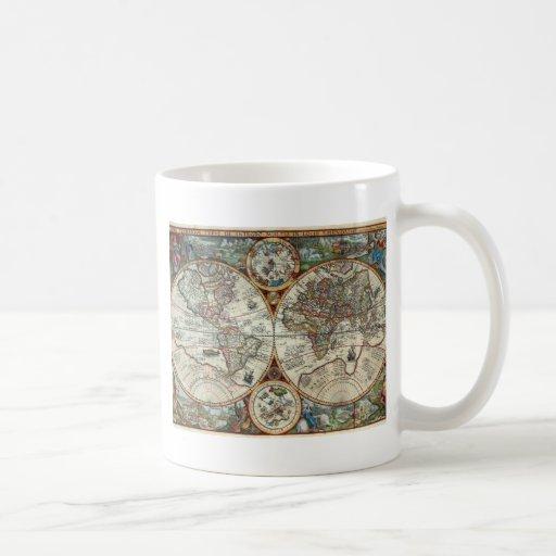 Orbis Terrarum 1594 - mapa del mundo famoso Taza De Café