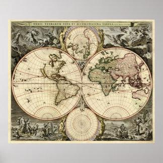 Orbis Terrarum Nova et Accuratissima Tabula Poster